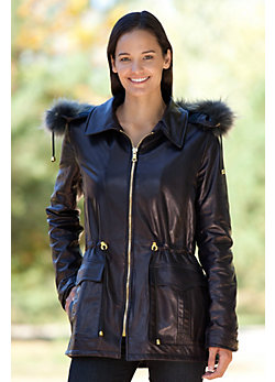 Women's Rosalie Lambskin Leather Jacket with Detachable Hood with Raccoon Fur