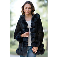 Women's Glenda Hooded Suede Jacket With Fox Fur Trim, Black, Size Medium (8) Western & Country