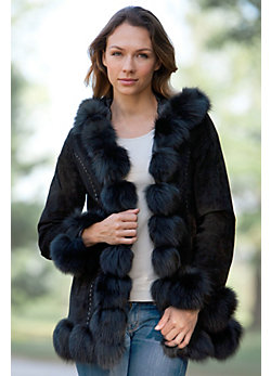 Women's Glenda Hooded Suede Jacket with Fox Fur Trim