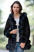 Women's Glenda Hooded Sueded Leather Jacket with Fox Fur Trim