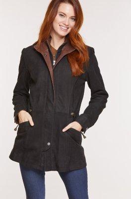 Juniper Double-Collar Lambskin Leather Coat