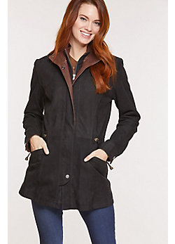 Juniper Double-Collar Lambskin Leather Coat