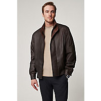 Men's Landon Lambskin Leather Bomber Jacket, Chocolate / Dakota, Size 40 Western & Country