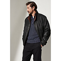 Men's Landon Lambskin Leather Bomber Jacket, Peat / Dakota, Size 38 Western & Country