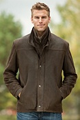 Men's Worcester Lambskin Leather Jacket with Shearling Collar