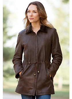 Abilene Lambskin Leather Coat with Shearling Collar