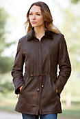Women's Abilene Lambskin Leather Coat with Shearling Collar
