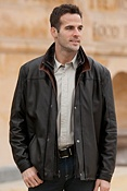 Men's Hunter Lambskin Leather Coat with Sheepskin Collar