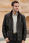 Hunter Lambskin Leather Coat with Sheepskin Collar
