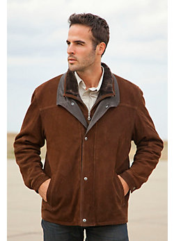 Men's Hunter Buffed Lambskin Leather Coat with Sheepskin Collar