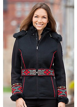 Women's Vinje Wool-Blend Ski Jacket with Rabbit Fur Trim