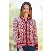 Women's Christiania Merino Wool Cardigan Sweater, B-Red Rose / Offwht, Size Xlarge (12-14) Western & Country