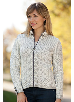 Women's Kara Zip Norwegian Wool Cardigan Sweater