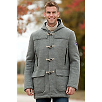 Men's Oslo Hooded Wool Duffle Coat, E-Smoke, Size Large (42-44) Western & Country