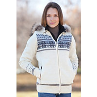 Women's Floyen Wool Jacket With Raccoon Fur Trim, Aoff White, Size Large (8-10) Western & Country
