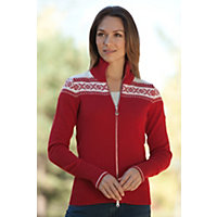 Women's Hemsedal Merino Wool Cardigan Sweater, B-Raspberry, Size Large (8-10) Western & Country