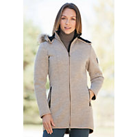 Women's Aspen Knitshell Wool Jacket With Raccoon Fur Trim, Psand, Size Xlarge (10-12) Western & Country