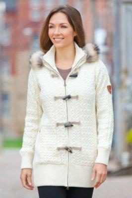 Dale of Norway Svolvaer Merino Wool Jacket with Raccoon Fur Trim
