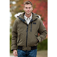 Men's Borden Canada Goose Down Bomber Jacket, Military Green, Size Xlarge (44-46) Western & Country