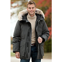 Men's Ontario Canada Goose Down Parka With Coyote Fur Trim, Graphite, Size Medium (38-40) Western & Country