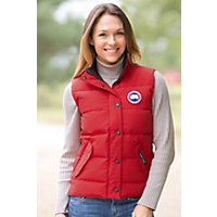 Women's Syracuse Canada Goose Quilted Down Vest, Red, Size Small (6-8) Western & Country