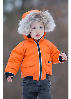 Children's Canada Goose Elijah Bomber Jacket with Coyote Fur Trim
