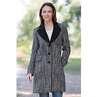 Women's Inez Loro Piana Wool Coat, Thistle / Black, Size 8 Western & Country