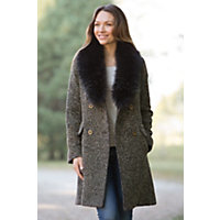 Women's Colette Alpaca-Blend Wool Coat With Raccoon Fur Collar, Chestnut, Size 10 Western & Country