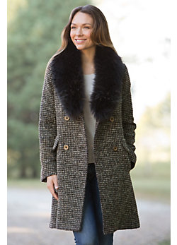 Women's Colette Alpaca-Blend Wool Coat with Raccoon Fur Collar