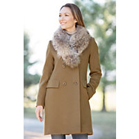Women's Jocelyn Loro Piana Wool Coat With Raccoon Fur Collar, Vicuna, Size 12 Western & Country