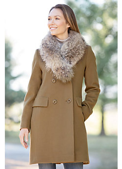 Jocelyn Loro Piana Wool Coat with Raccoon Fur Collar