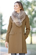 Women's Jocelyn Loro Piana Wool Coat with Raccoon Fur Collar