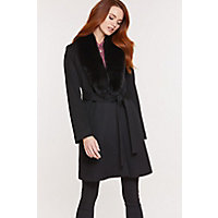 Women's Gillian Loro Piana Wool Wrap Coat With Fox Fur Collar, Black, Size 14 Western & Country