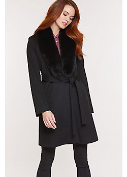Women's Gillian Loro Piana Wool Wrap Coat with Fox Fur Collar