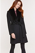 Women's Gillian Loro Piana Wool Coat with Fox Fur Collar