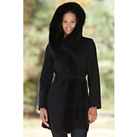 Women's Imperial Loro Piana Wool Wrap Coat With Hood And Fox Fur Trim, Black, Size 10 Western & Country