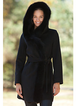 Women's Imperial Loro Piana Wool Wrap Coat with Hood and Fox Fur Trim