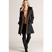 Abbie Loro Piana Wool Coat with Spiral Mink Fur Trim BLACK Size 10