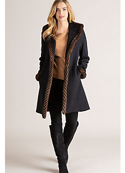 Abbie Loro Piana Wool Coat with Spiral Mink Fur Trim