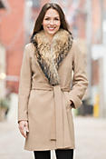 Women's Quincy Loro Piana Wool Coat with Raccoon Fur Collar