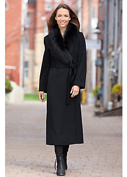 Bernice Loro Piana Wool Wrap Coat with Fox Fur Trim