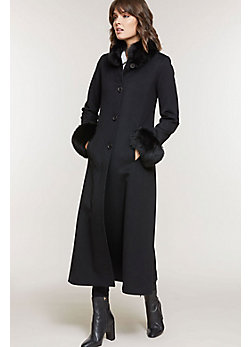 Women's Lydia Loro Piana Wool Coat with Fox Fur Trim