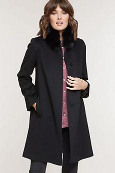 Magdalena Piacenza Wool Coat with Fox Fur Trim