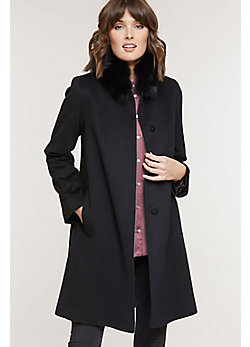 Magdalena Piancenza Wool Coat with Fox Fur Trim