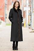 Ambrosia Loro Piana Wool Coat with Mink Fur Trim