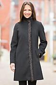 Guinevere Loro Piana Wool Coat with Mink Fur Trim