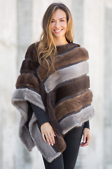 Samantha Knitted Danish Mink Fur Poncho