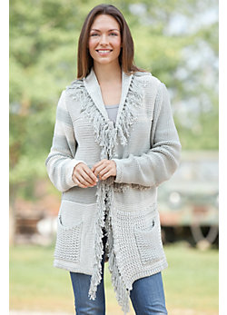 Fanciful Fringe Handmade Cotton Cardigan Sweater