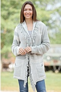 Women's Fanciful Fringe Handmade Cotton Cardigan Sweater