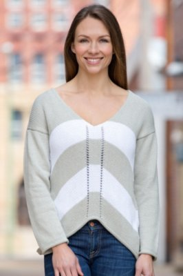 Artist Striped Handmade Cotton Pullover Sweater